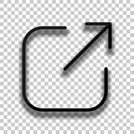Share, logout or upload. Diagonal arrow out square. Black glass icon with soft shadow on transparent background