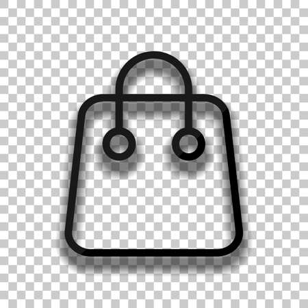 Shopping bag icon. Linear, thin outline. Black glass icon with soft shadow on transparent background Vektorové ilustrace