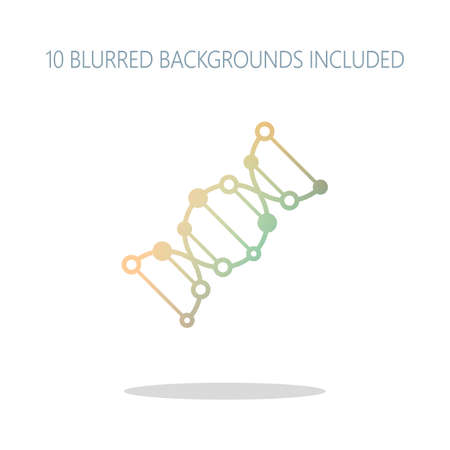 DNA icon. Colorful logo concept with simple shadow on white. 10 different blurred backgrounds included 일러스트