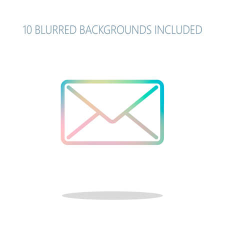 mail close icon. Colorful logo concept with simple shadow on white. 10 different blurred backgrounds included