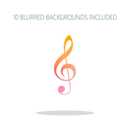 Simple icon of treble key. Colorful logo concept with simple shadow on white. 10 different blurred backgrounds included