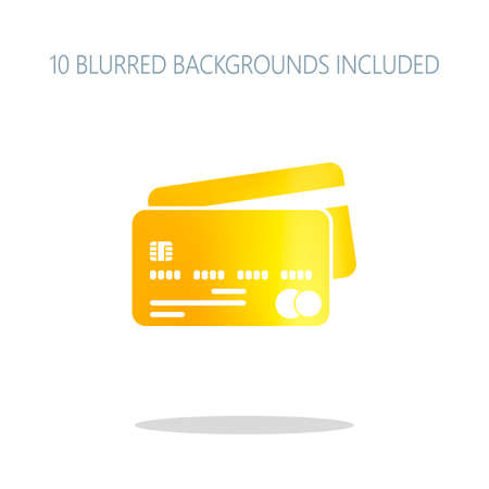 credit card icon. Colorful logo concept with simple shadow on white. 10 different blurred backgrounds included Illustration