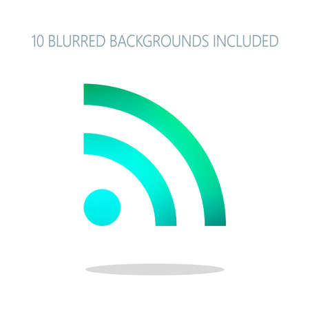 RSS icon. Colorful logo concept with simple shadow on white. 10 different blurred backgrounds included