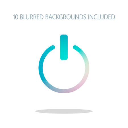 shut down, power. Colorful logo concept with simple shadow on white. 10 different blurred backgrounds included