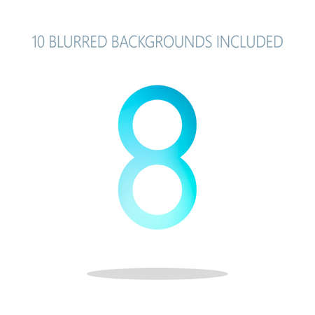 Number eight, numeral, simple letter. Colorful logo concept with simple shadow on white. 10 different blurred backgrounds included