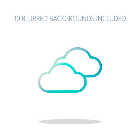 Mostly cloudy icon. Simple linear icon with thin outline. Colorful logo concept with simple shadow on white. 10 different blurred backgrounds included