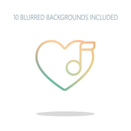 Heard and note, Favourite music. Linear icon with thin outline. Colorful logo concept with simple shadow on white. 10 different blurred backgrounds included