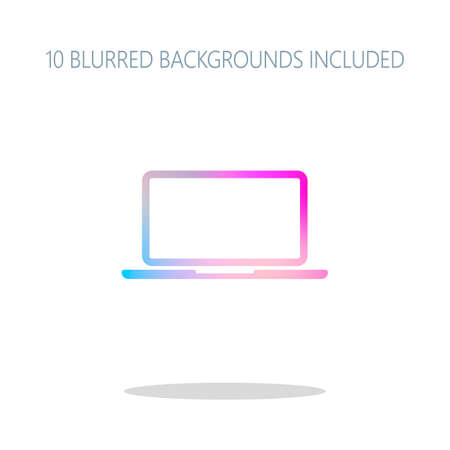 Laptop or notebook computer icon. Colorful logo concept with simple shadow on white. 10 different blurred backgrounds included