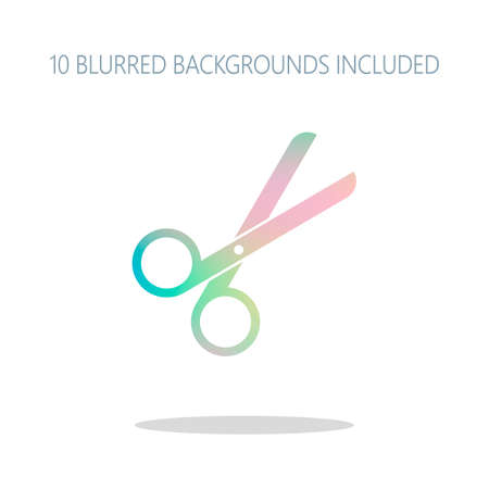 Scissors icon. Tool of barber. Colorful logo concept with simple shadow on white. 10 different blurred backgrounds included