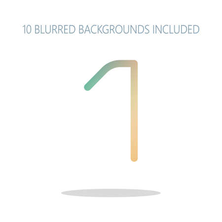 Number 1, numeral, one. Colorful logo concept with simple shadow on white. 10 different blurred backgrounds included Illustration