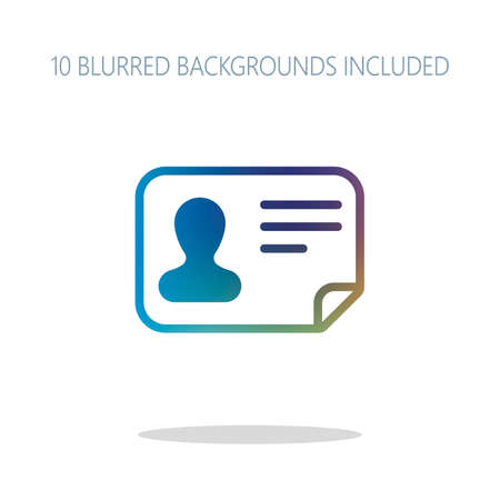 Identification card icon. ID profile. Colorful logo concept with simple shadow on white. 10 different blurred backgrounds included