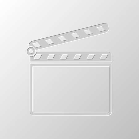 Film clap board cinema open icon. Paper design. Cutted symbol. Pitted style