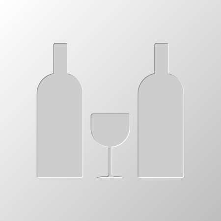 glass and bottles icon. Paper design. Cutted symbol. Pitted style
