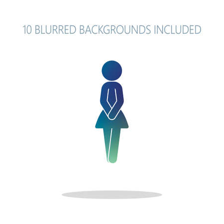 Female silhouette, woman icon. Colorful logo concept with simple shadow on white. 10 different blurred backgrounds included