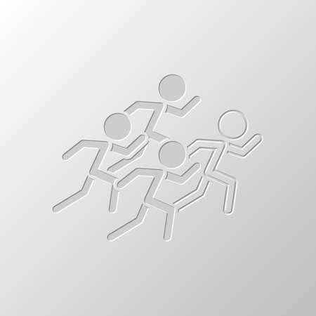 Leute laufen lassen. Team mit Führer. Papierdesign. Geschnittenes Symbol. Lochstil
