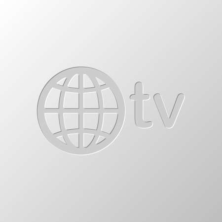 domain for media and television, globe and tv. Paper design. Cutted symbol. Pitted style