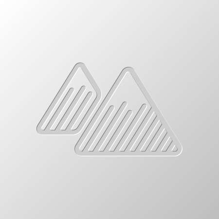 Mountains icon. Linear style with thin outline. Paper design. Cutted symbol. Pitted style