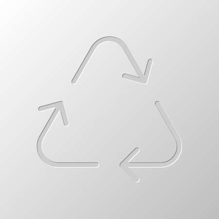 Recycle or reuse icon. Thin arrows, linear style. Paper design. Cutted symbol. Pitted style 向量圖像