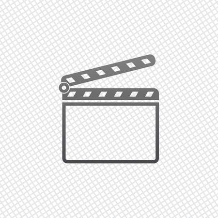 Film clap board cinema open icon. On grid background