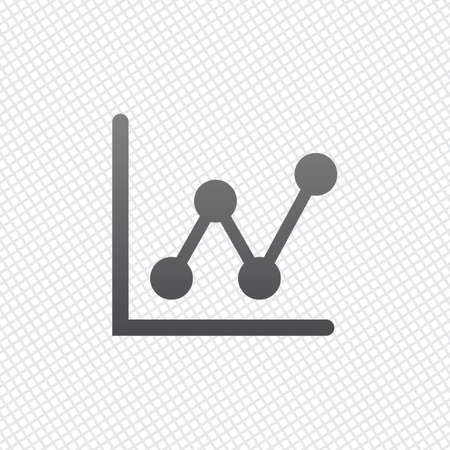Growing graph line icon. On grid background Ilustração