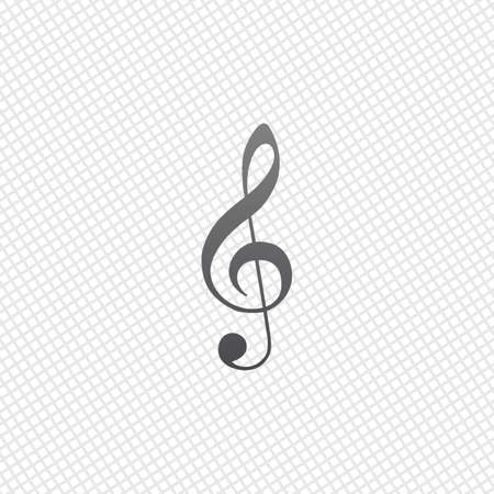 Simple icon of treble key. On grid background
