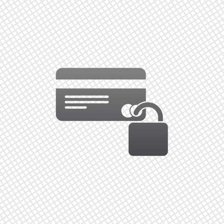 credit card protection icon. On grid background