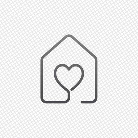 house with heart icon. line style. On grid background 向量圖像
