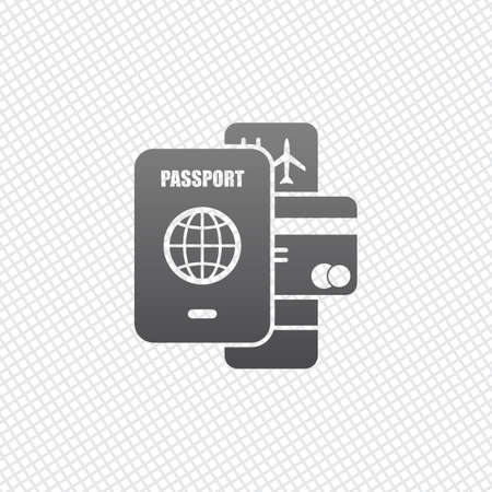 passport, ticket, credit card. air travel concept. On grid background