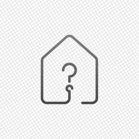 house with question mark icon. line style. On grid background 矢量图像