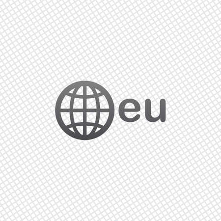domain, European identity, globe and eu. On grid background