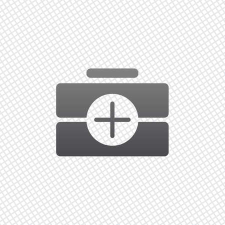 first-aid kit, simple icon. On grid background