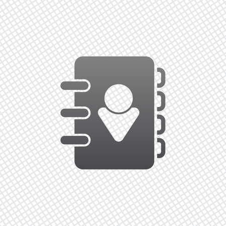 address book with person on cover. simple icon. On grid background Ilustração