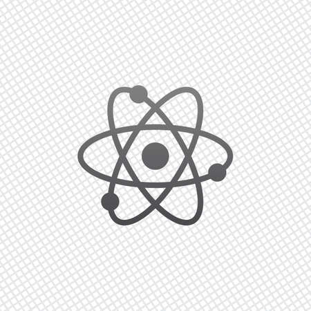 scientific atom symbol, simple icon. On grid background