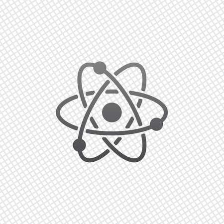 wissenschaftliches Atomsymbol, einfaches Symbol. Auf Gitterhintergrund Vektorgrafik