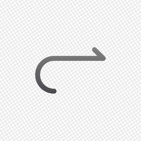 Simple arrow, forward. Navigation icon. Simple arrow, backward. Navigation icon. Linear symbol with thin line. One line style. On grid background Illustration