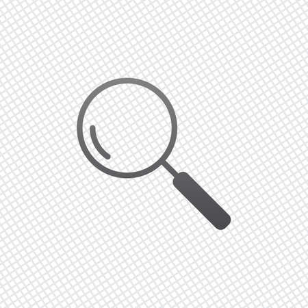 Loupe, search or magnifying. Linear icon, thin outline. On grid background Vettoriali
