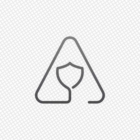 Shield in warning triangle. Problem with protect. Linear icon with thin outline. One line style. On grid background Ilustração