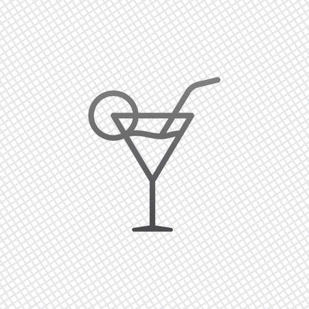 Coctail glass. Simple linear icon with thin outline. On grid background