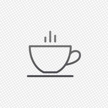 Simple cap of coffee or tea. Linear icon with thin outline. On grid background