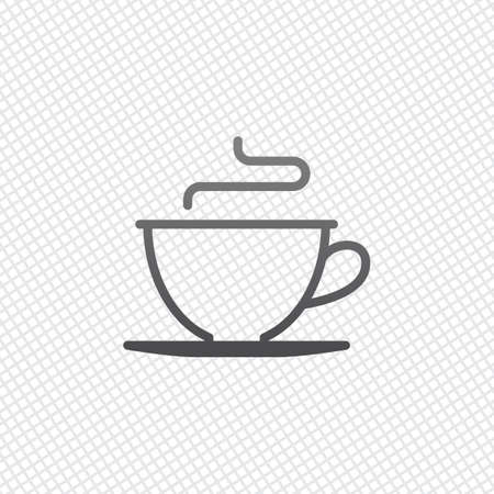 Simple cup of coffee or tea. Linear icon, thin outline. On grid background