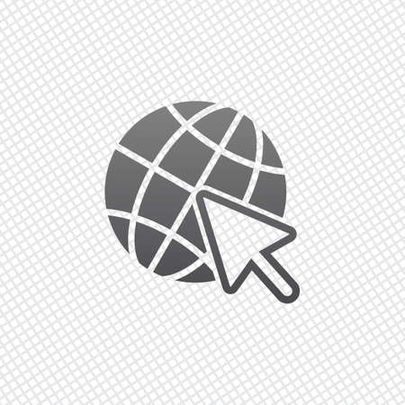 Globe and arrow icon. On grid background