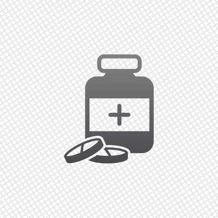 Pills and medicine bottle. On grid background