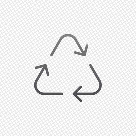 Recycle or reuse icon. Thin arrows, linear style. On grid background