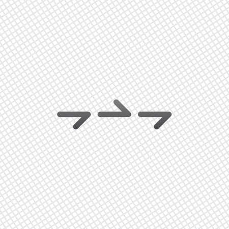 Pocas flechas, misma dirección. Contorno lineal y delgado. En el fondo de la cuadrícula Ilustración de vector