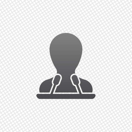 Speaker icon. Person silhouette and microphones on tribune. On grid background