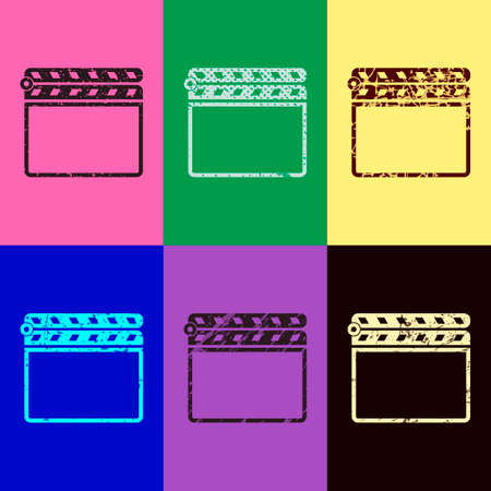 Film clap board cinema close icon. Pop art style. Scratched icons on 6 colour backgrounds. Seamless pattern