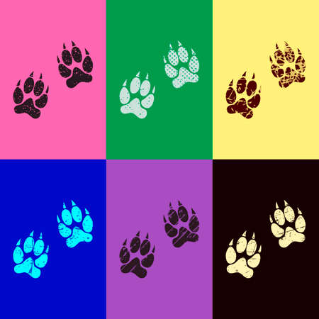 animal tracks icon. Pop art style. Scratched icons on 6 colour backgrounds. Seamless pattern
