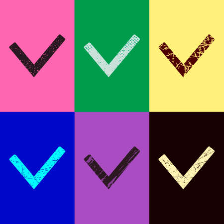 Check mark icon. Pop art style. Scratched icons on 6 colour backgrounds. Seamless pattern Stock Illustratie