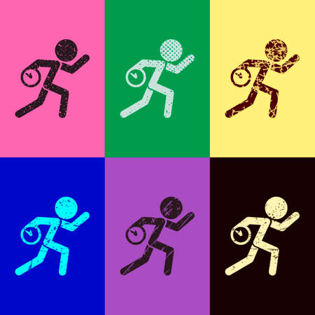 Running man with clock. Simple icon. To be late. An unpleasant situation. Pop art style. Scratched icons on 6 colour backgrounds. Seamless pattern