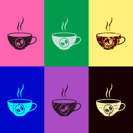 cup of hot coffee icon. Pop art style. Scratched icons on 6 colour backgrounds. Seamless pattern Illusztráció